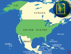 Geographical and physical  map of USA