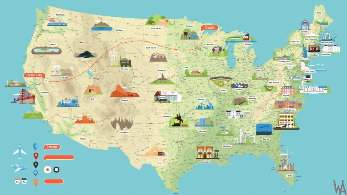 High Quality Tourist attraction map of the USA | WhatsAnswer on