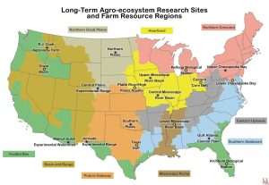 LTAR Sites a farm resource regions map of the USA