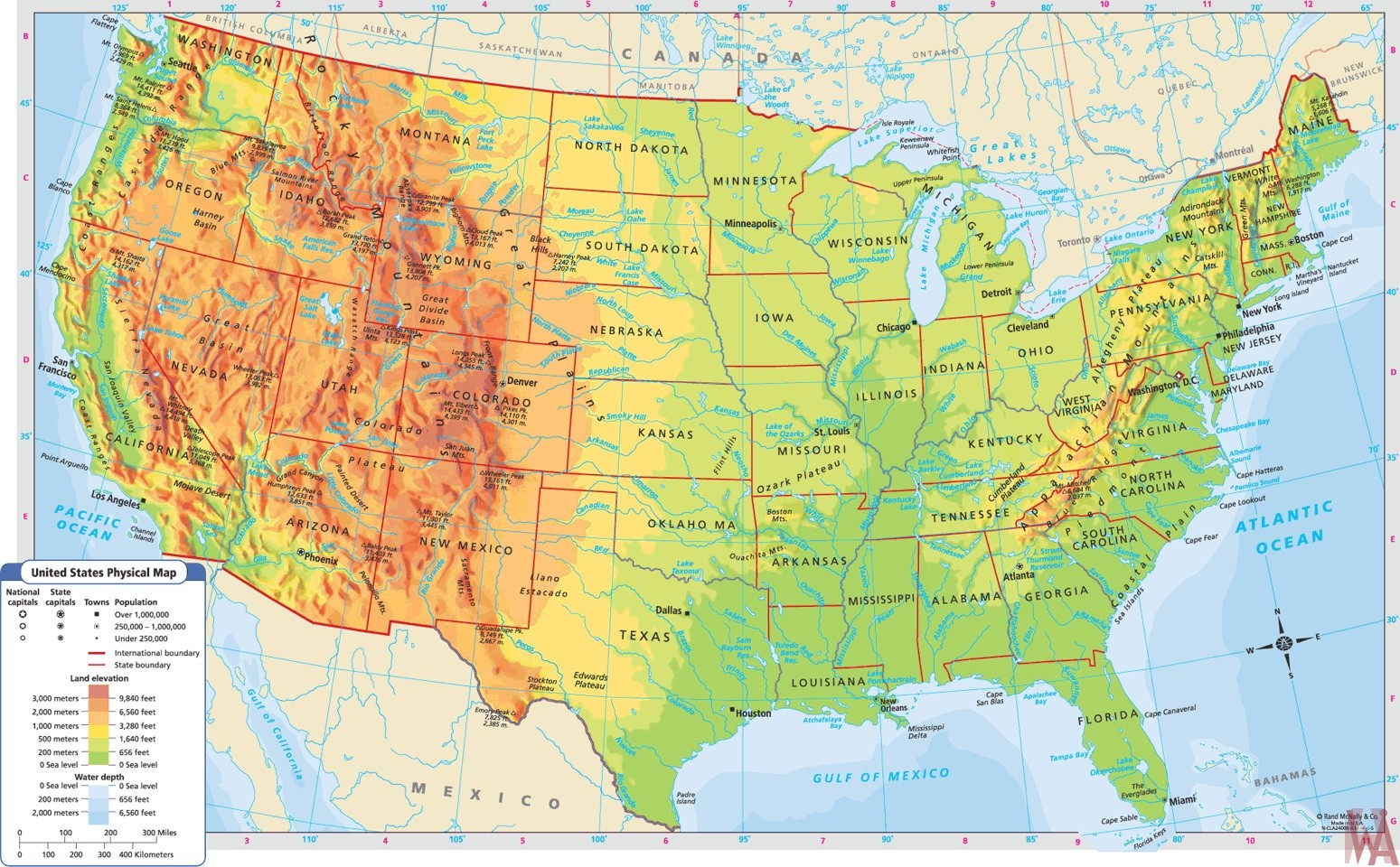 Large Political,physical, geographical map of USA 2