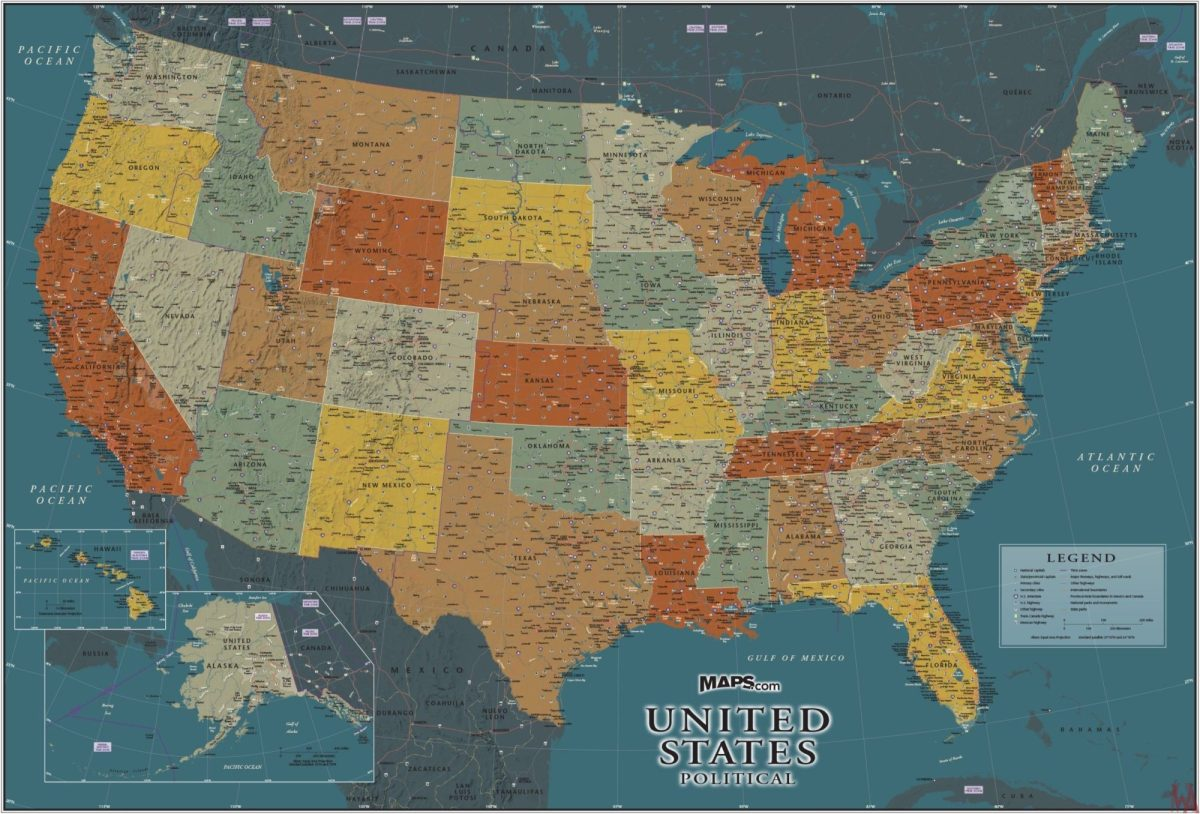 Geographical Map Of United States.Large Political Physical Geographical Map Of Usa 4 Whatsanswer