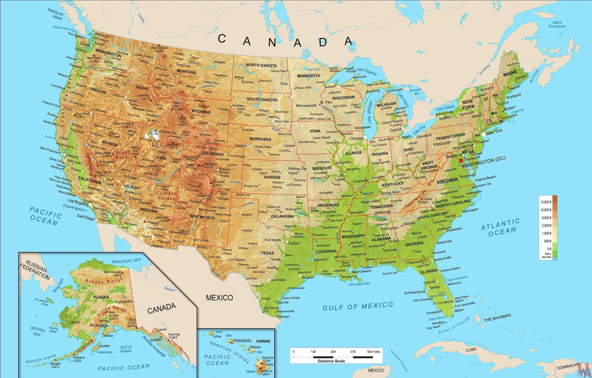 Large Political, physical, geographical map of United States ...