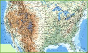 Large attractive  Political,physical, geographical map of USA