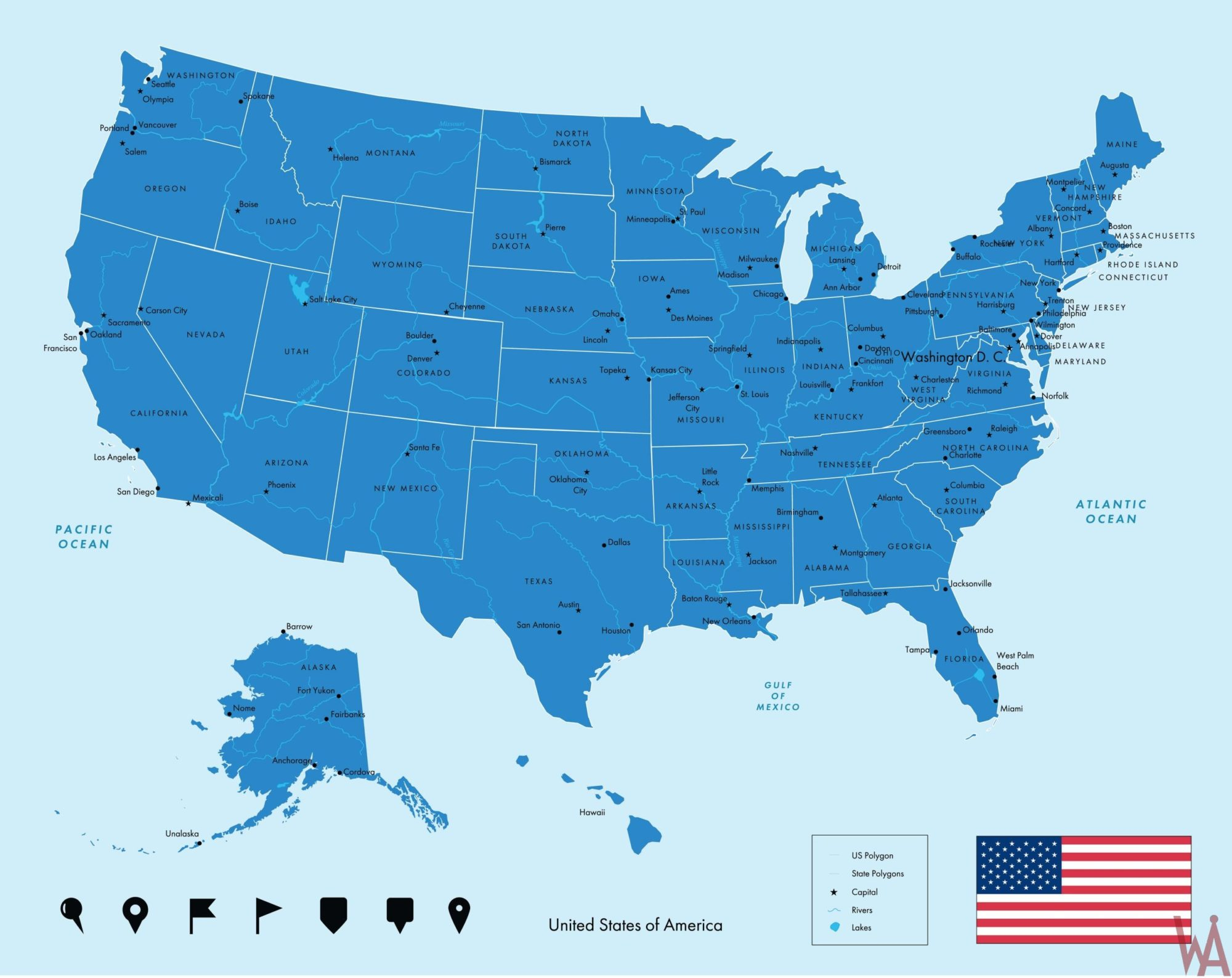 Large  attractive one color political map of the USA