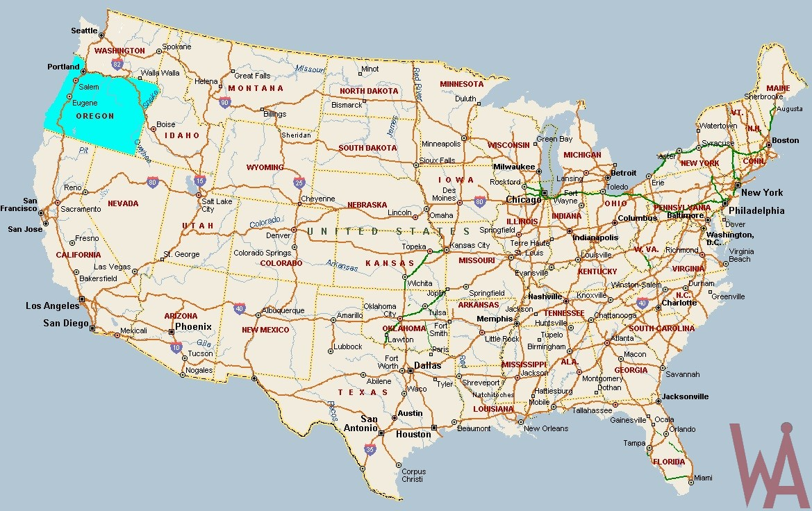 Large attractive one color political map of the USA Indicate Oregon on