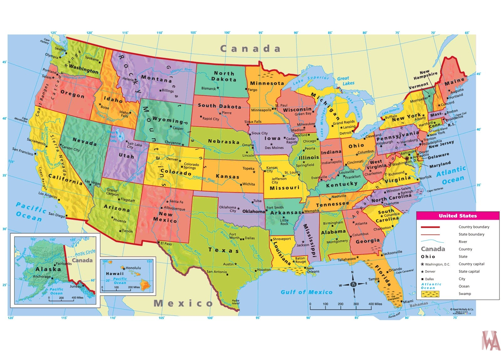 Large  attractive political map of the USA.with capital and main cities