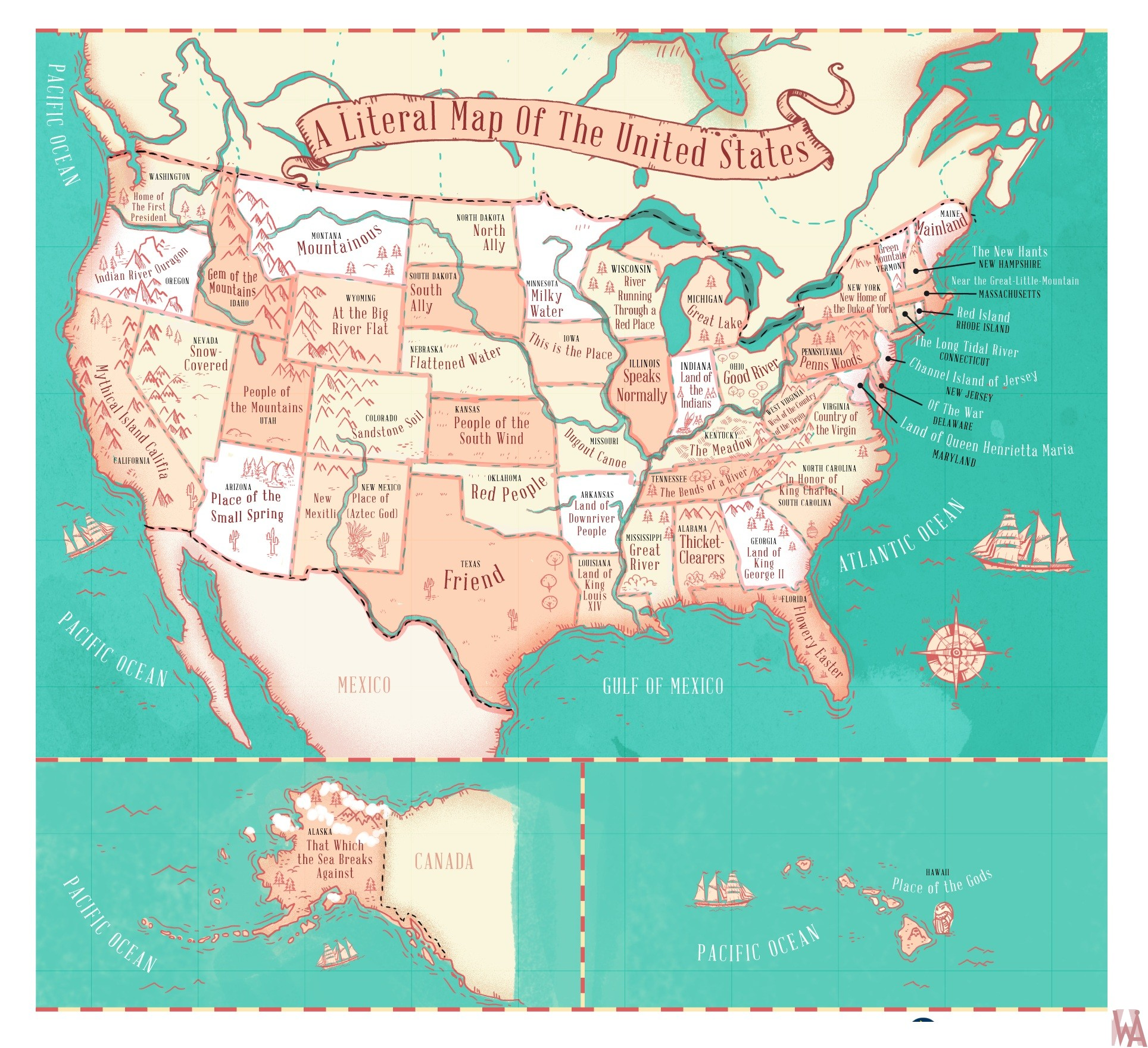 Literal map of the United States with Famous Name