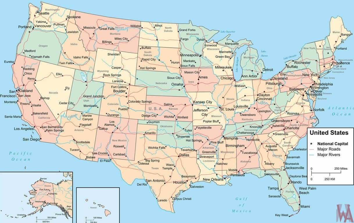Major Rivers and Roads Map of The USA
