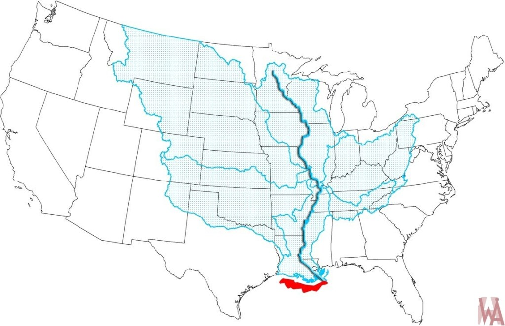 Mississippi river Coverage Map of the United States ...