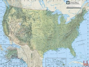 Physical Map of the United States with Mountains rivers and Lakes