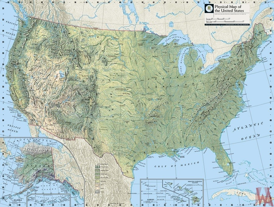 Physical Map of the United States with Mountains rivers and ...