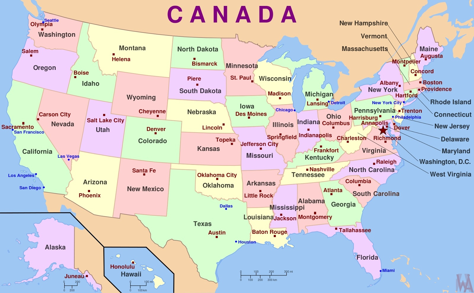 Picture of: Political Map Of The United States With Capital Whatsanswer