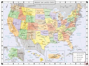 Present day general map of the USA