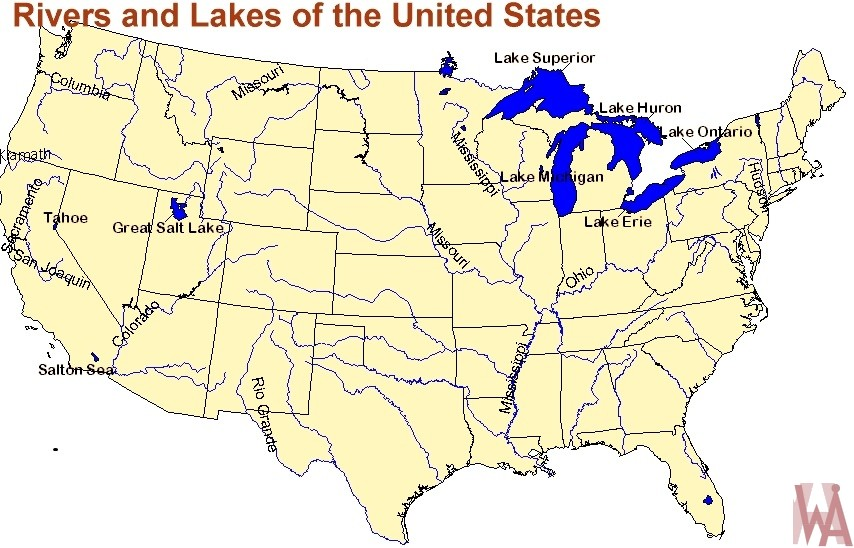 United States Map With Lakes.Rivers And Lakes Map Of The United States Whatsanswer
