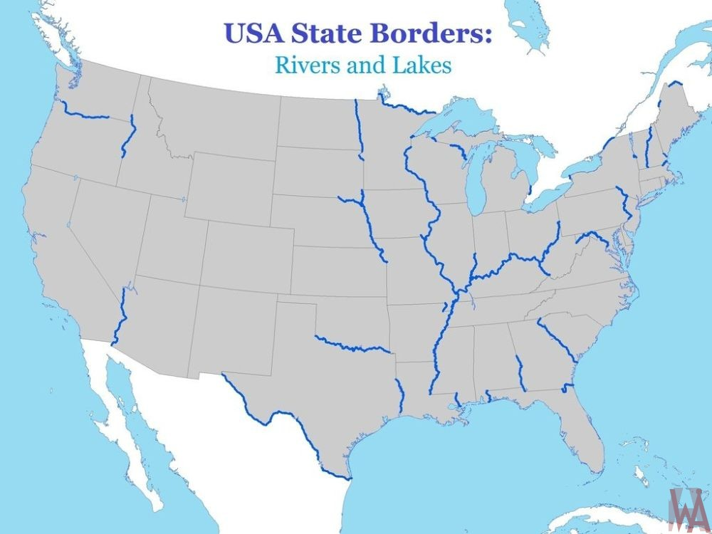 State borderline river and lake map of the USA