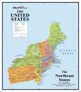 The Northeast  USA Map by mapsdotcom
