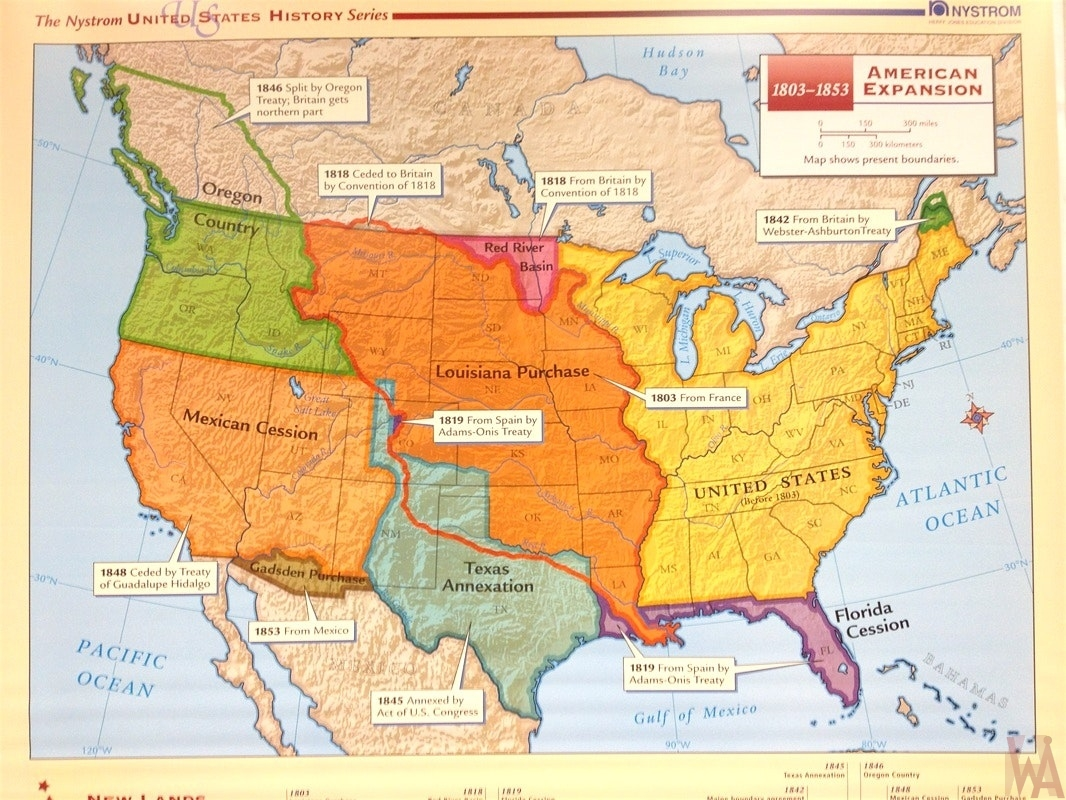 Us History American Expansion Map Whatsanswer - Us-map-1845