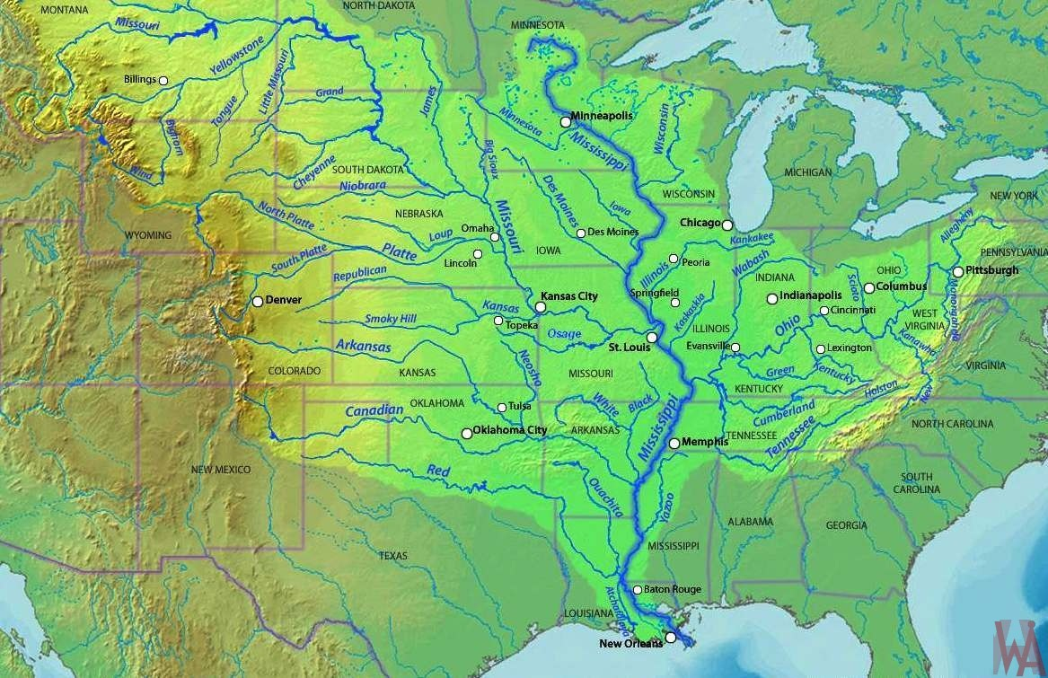 Mississippi river map  of the USA