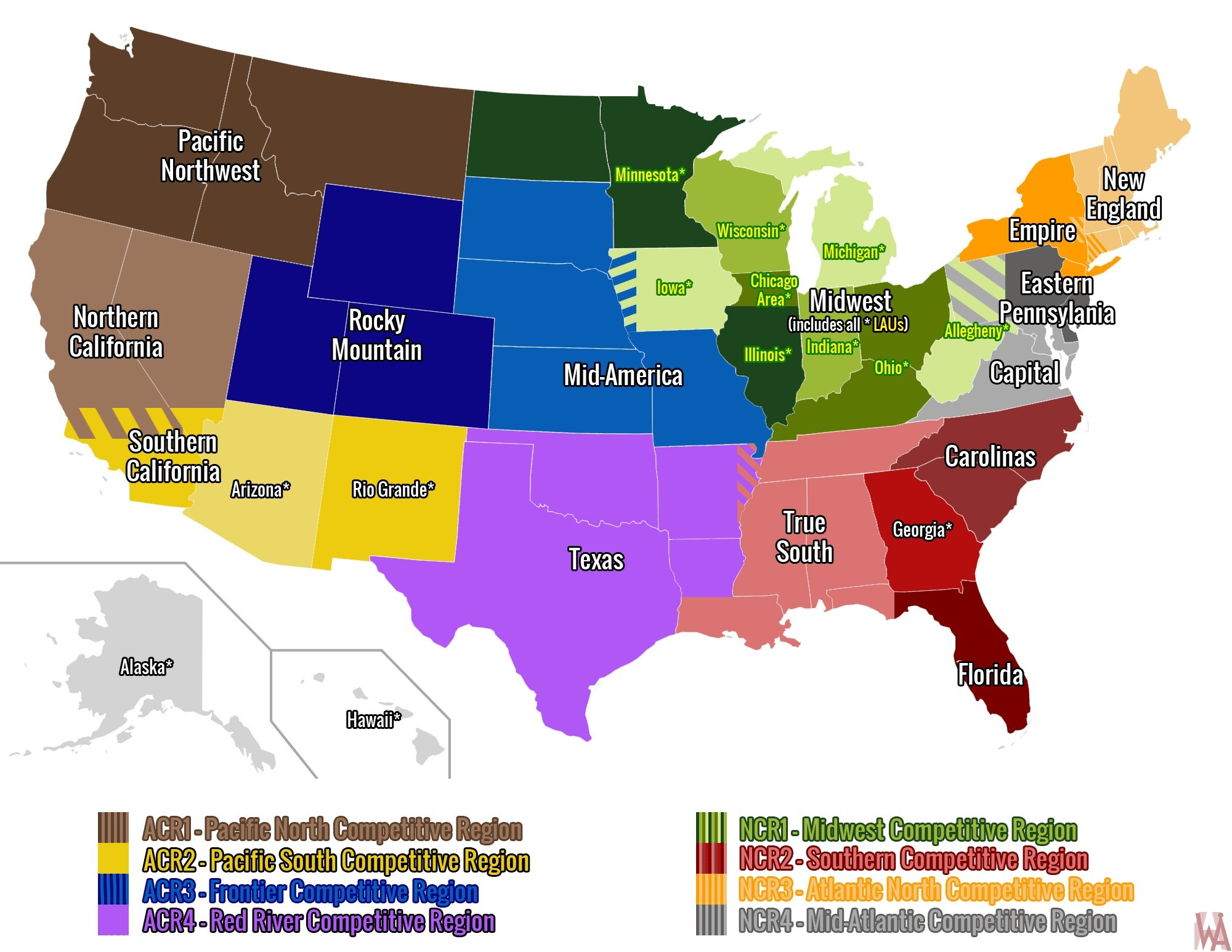 USA Club Rugby Map Unions and CRs