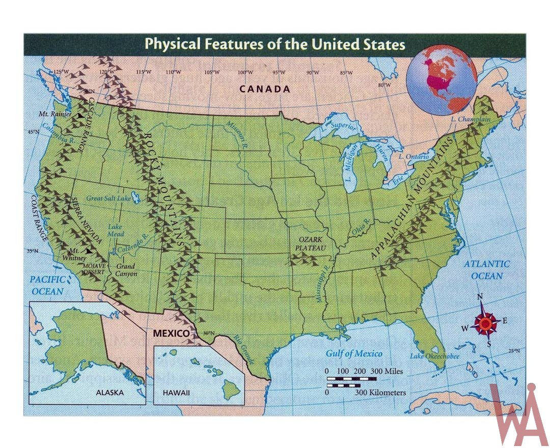 Physical Maps Of The Usa