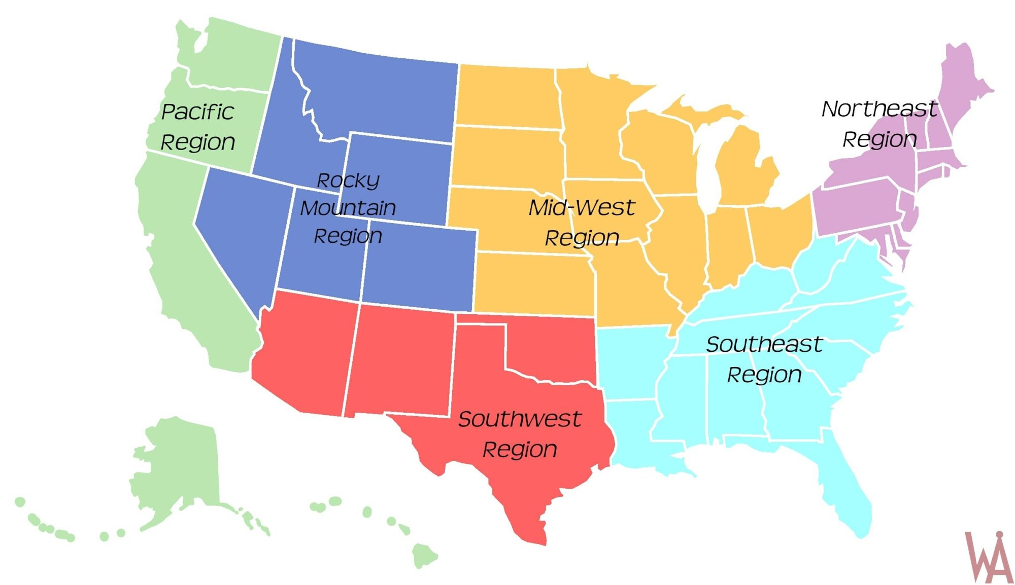 Region Maps Of The Usa