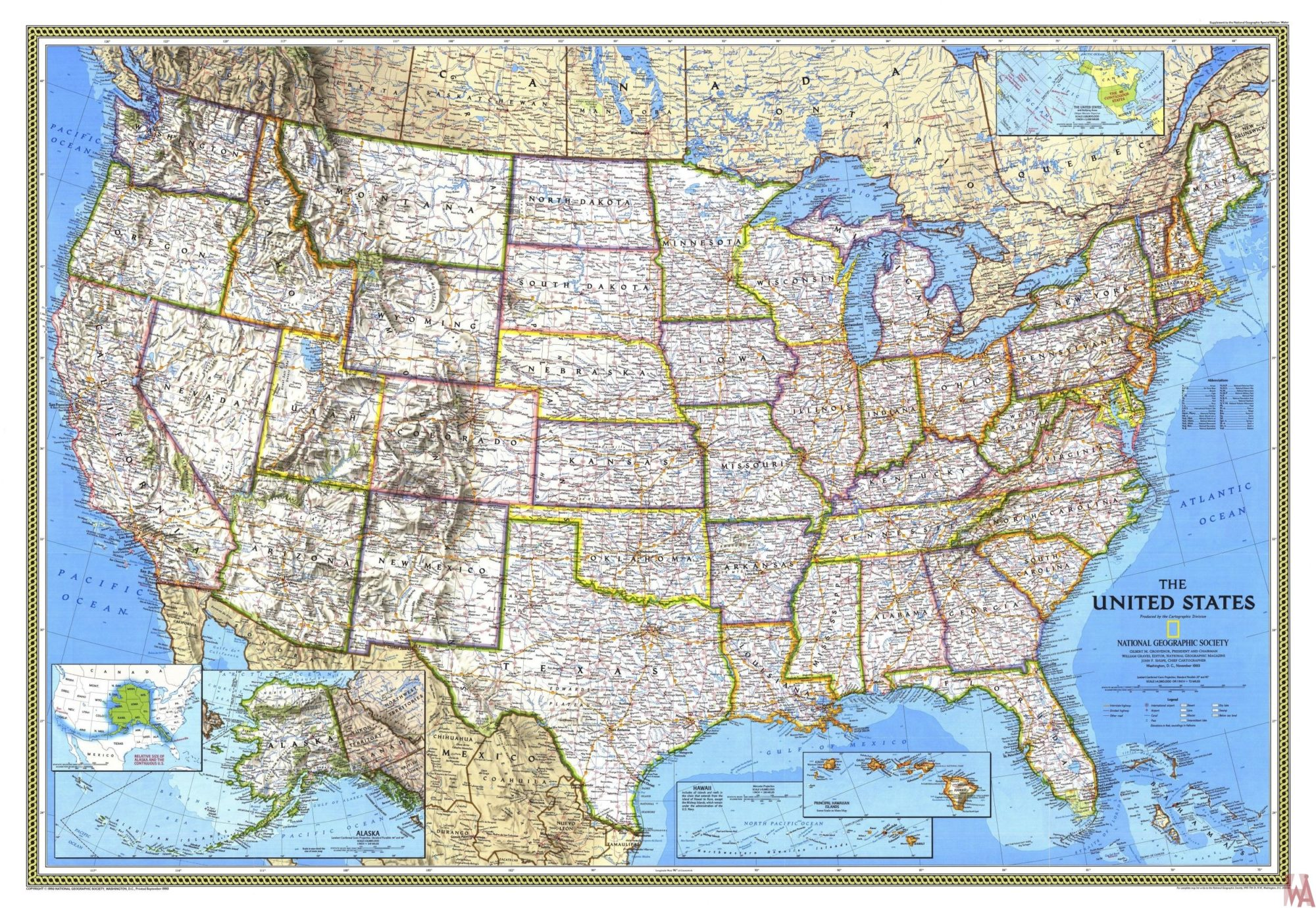 large antique  state Map of the USA