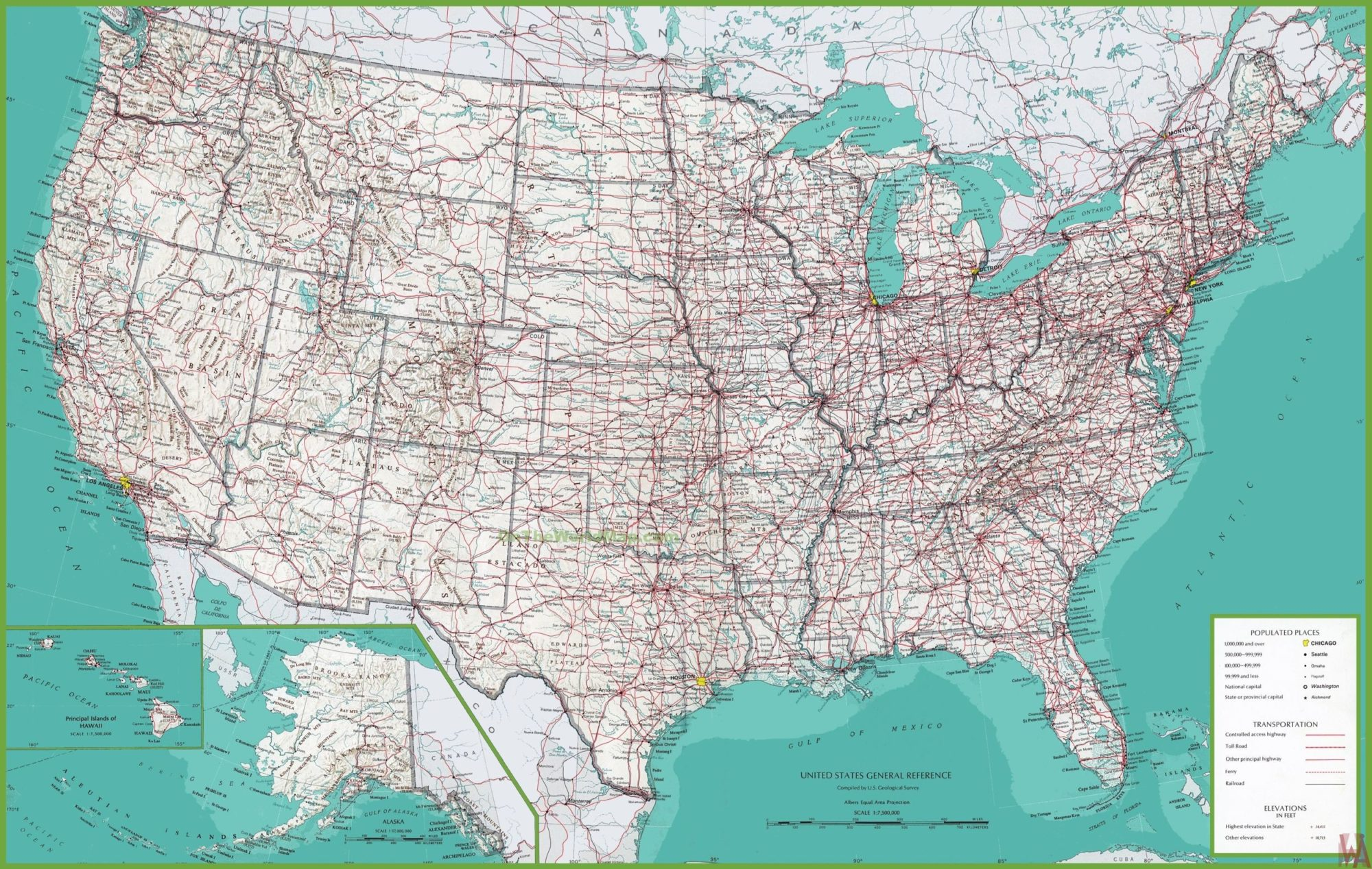 large detailed all purpose map of the usa