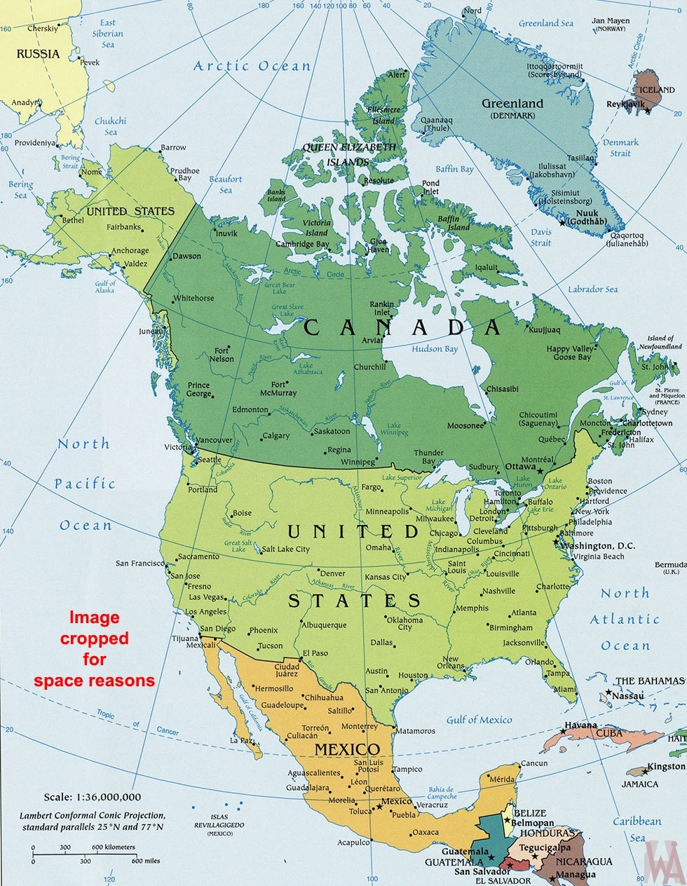 Map Of America Political.North America Political Wall Map Whatsanswer