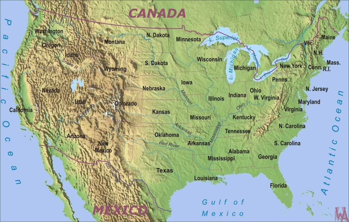 physical geographical map of usa with rivers and mountains ...