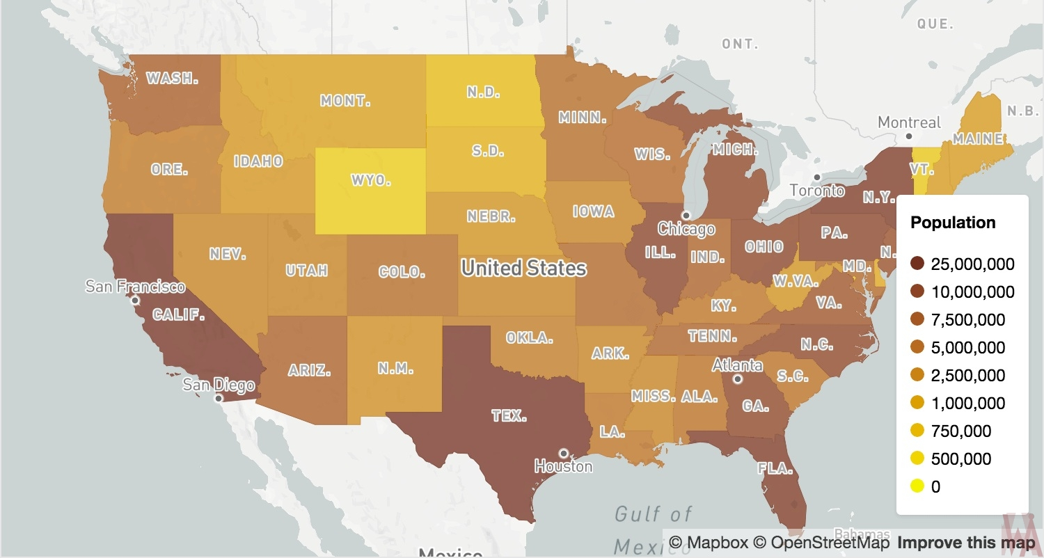 state wise population map of USA