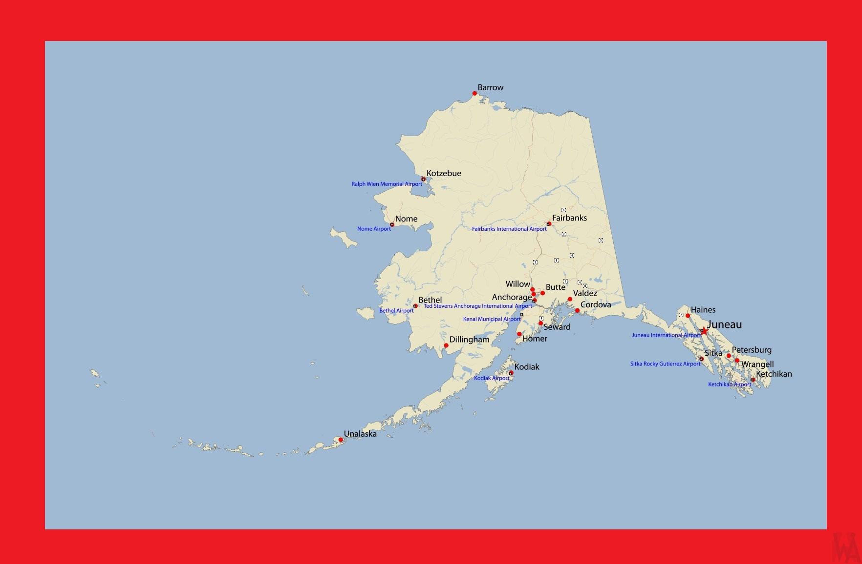 Alaska Detailed Map |  Detailed Map of Alaska