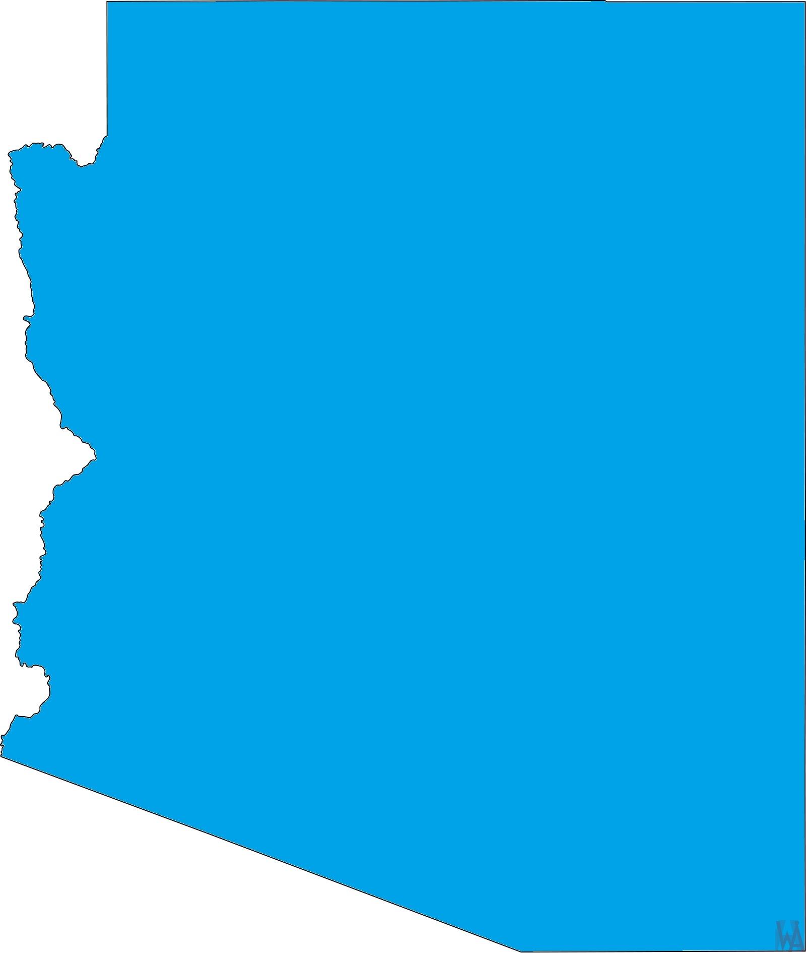 Arizona Blank Outline Map    Blank Outline Map of Arizona – 1