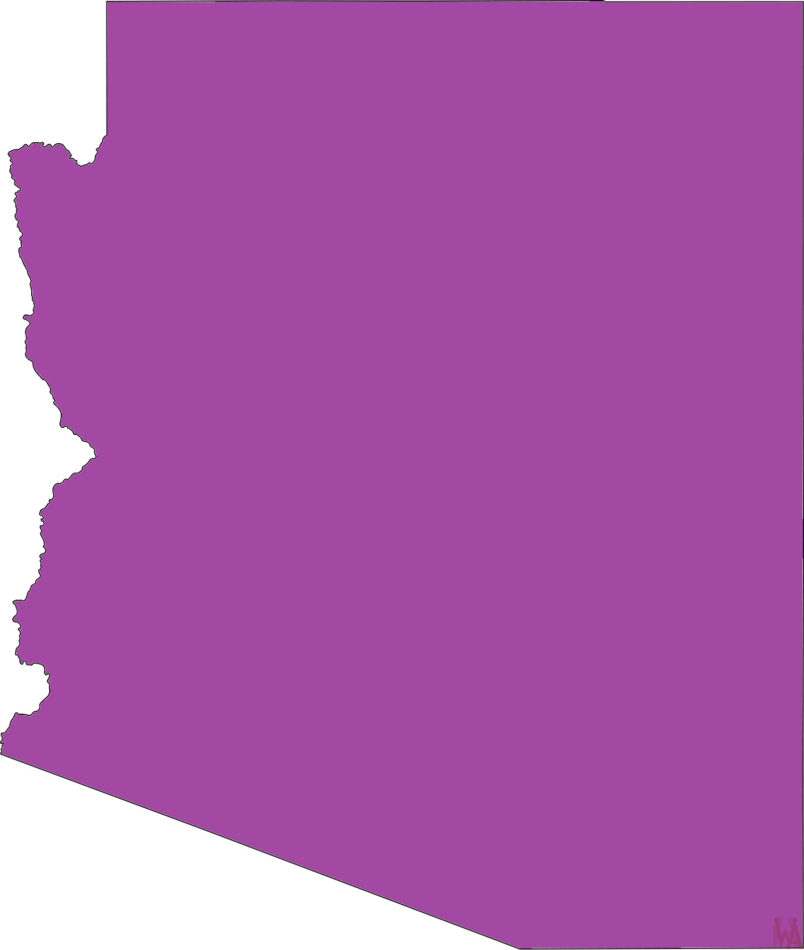 Arizona Blank Outline Map |  Blank Outline Map of Arizona – 3