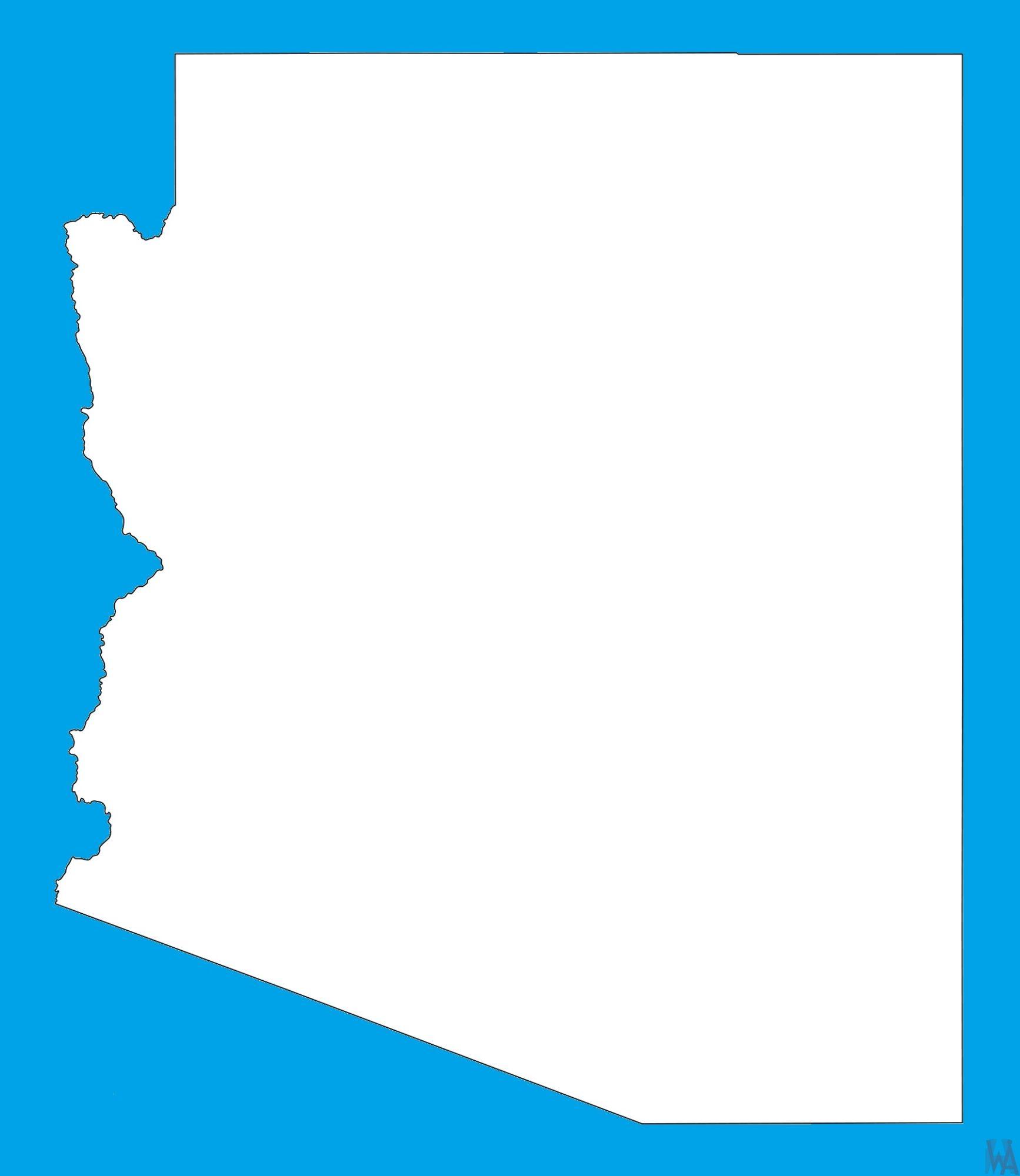 Arizona Blank Outline Map |  Blank Outline Map of Arizona