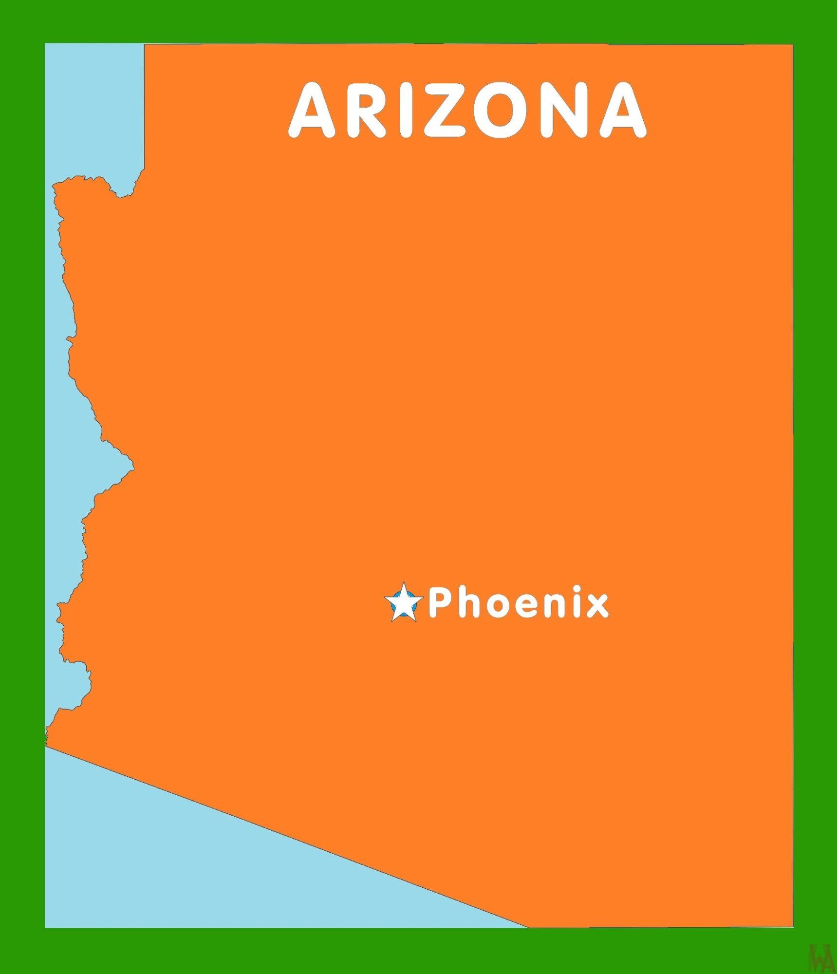 Arizona Capital  Map    Capital  Map of Arizona