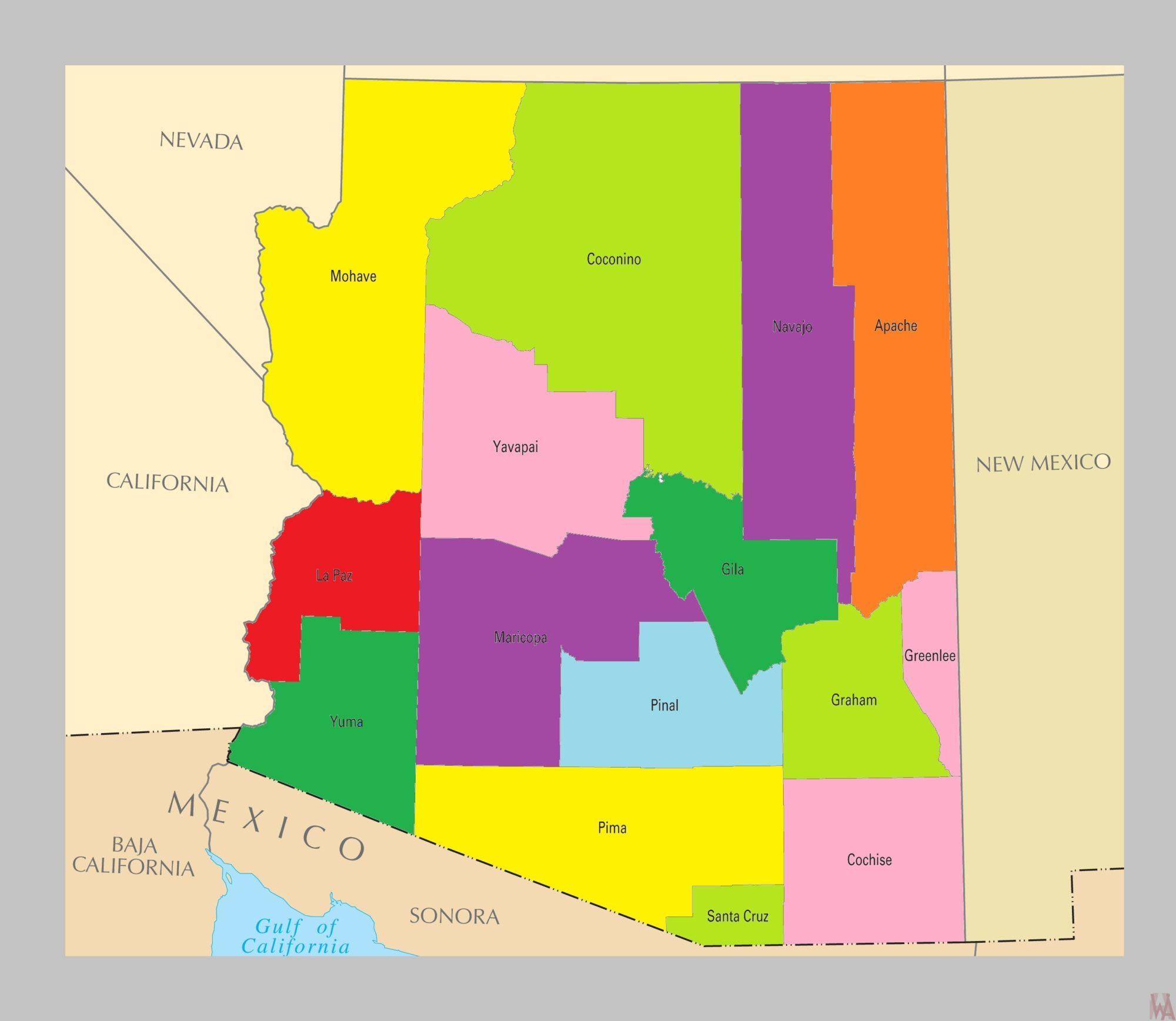 Map Of Arizona By County.Arizona County Map County Map Of Arizona 2 Whatsanswer