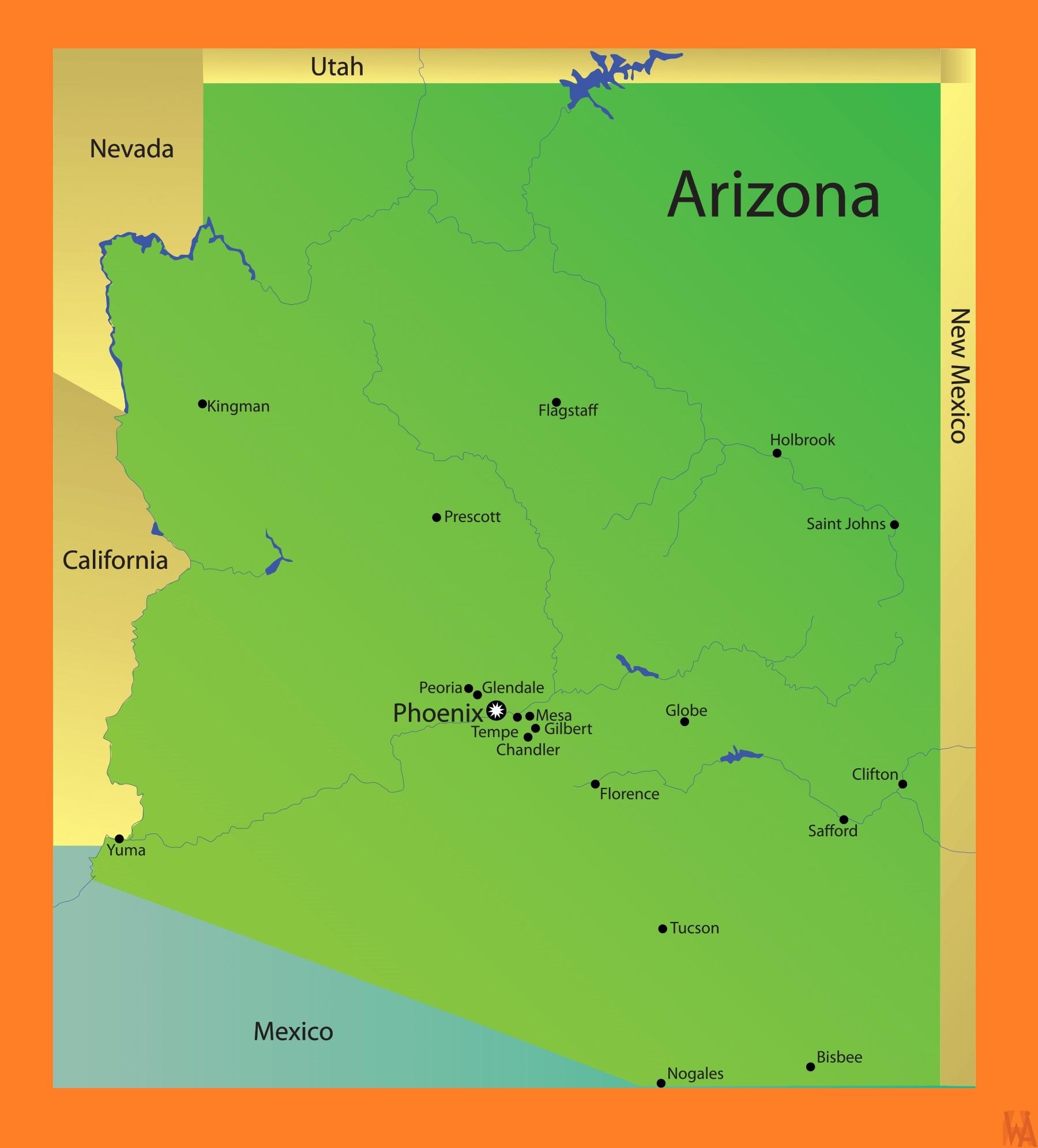 Map Of Arizona In 1800.Arizona Detailed Map Detailed Map Of Arizona Whatsanswer