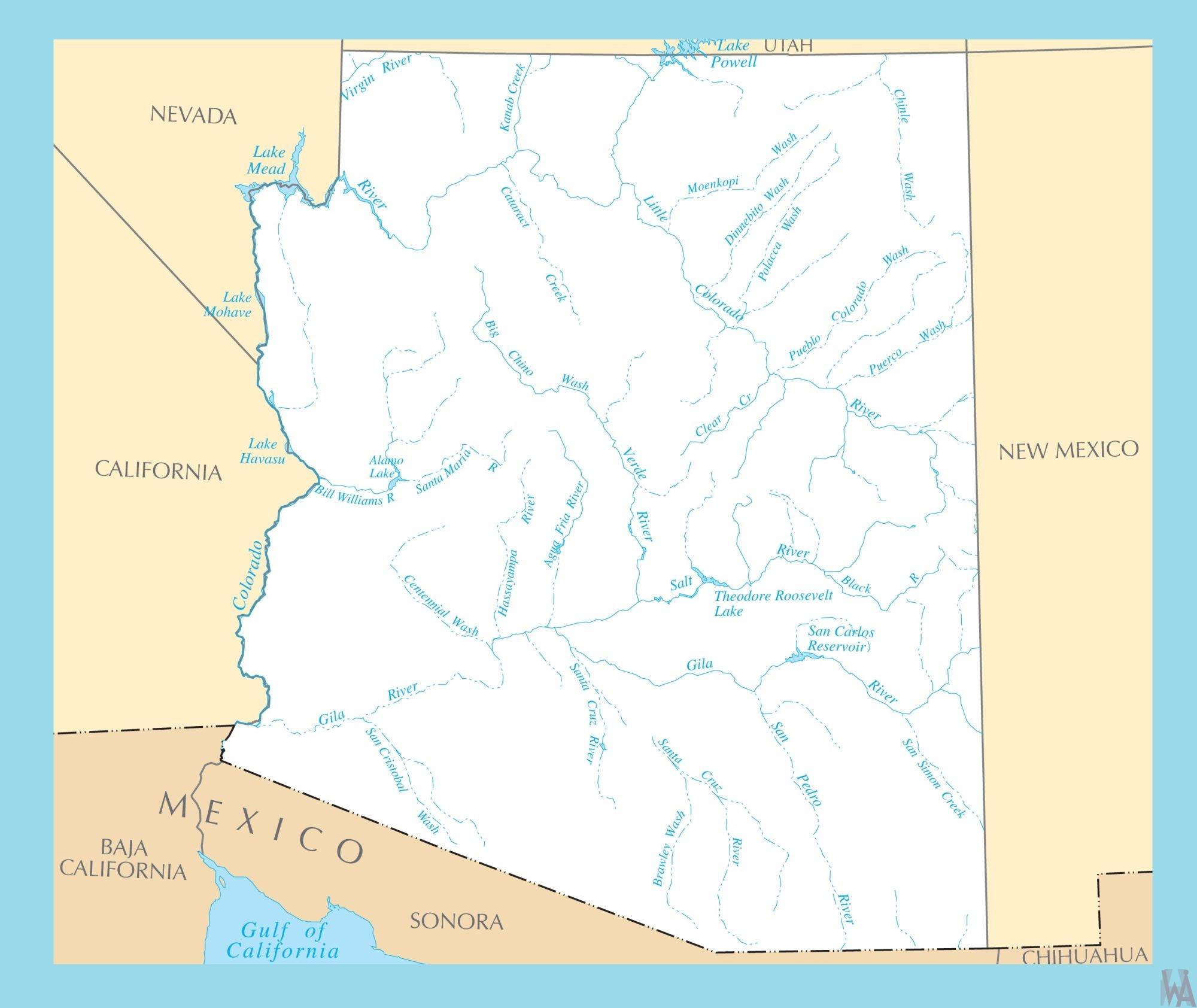 Map Of Arizona California Border.Arizona Rivers Map Rivers Map Of Arizona 2 Whatsanswer