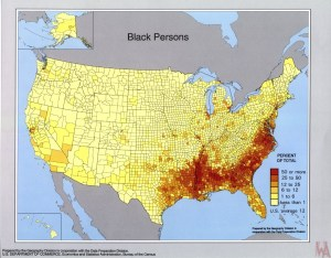 Black Population map of the USA