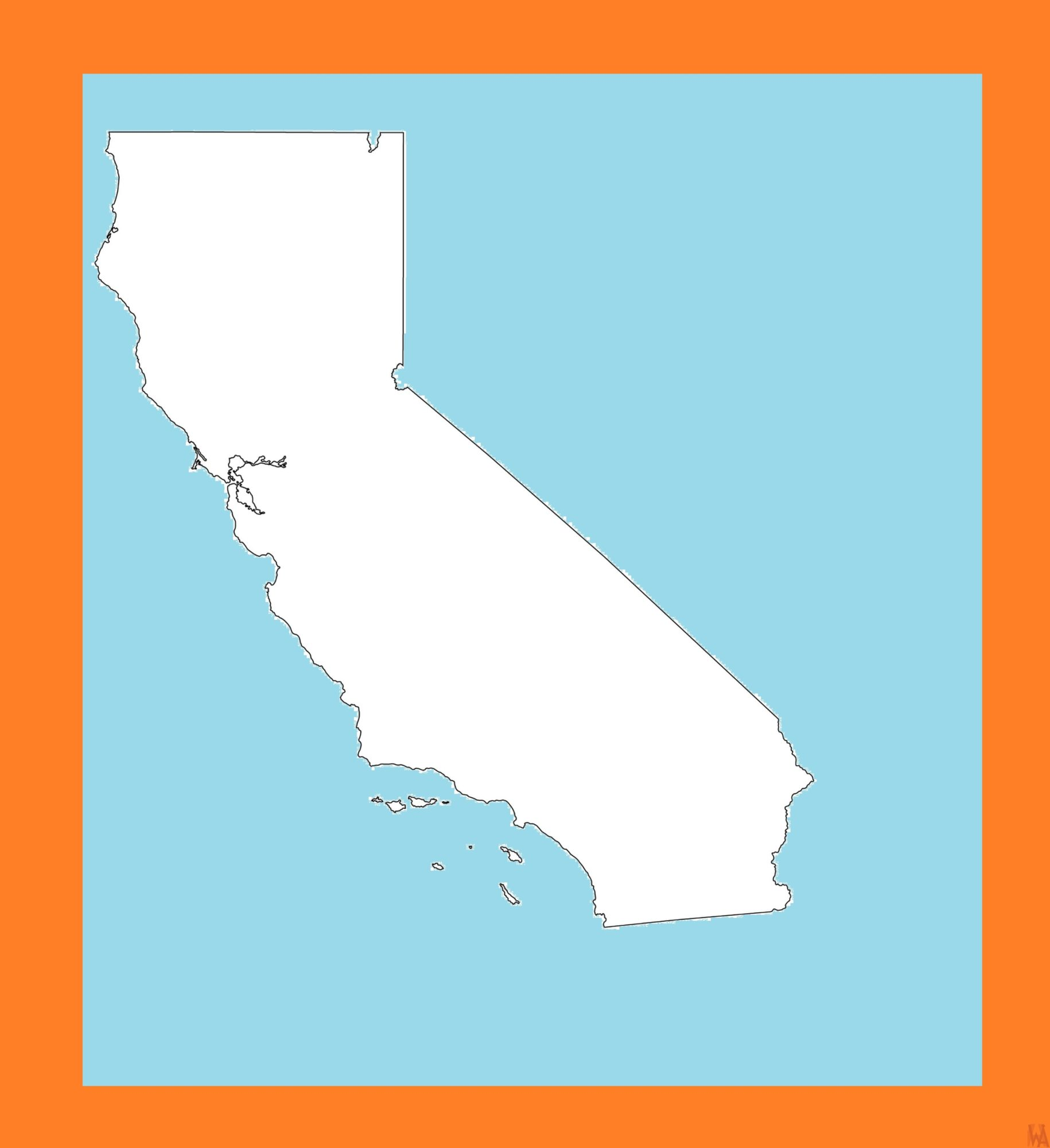 California Blank Outline Map – 1  | Blank Outline Map of California