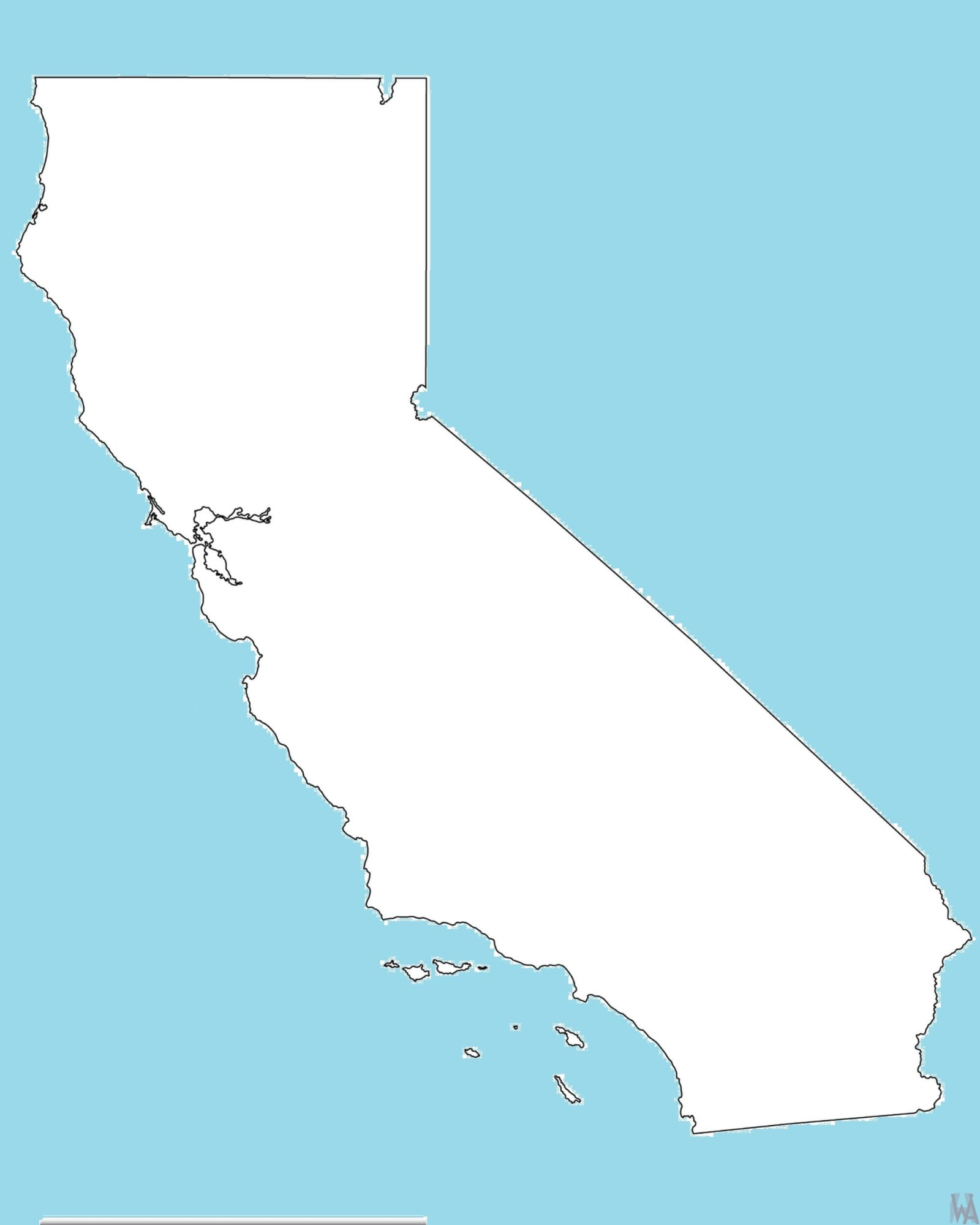 California Blank Outline Map  – 2   |  Blank Outline Map of California