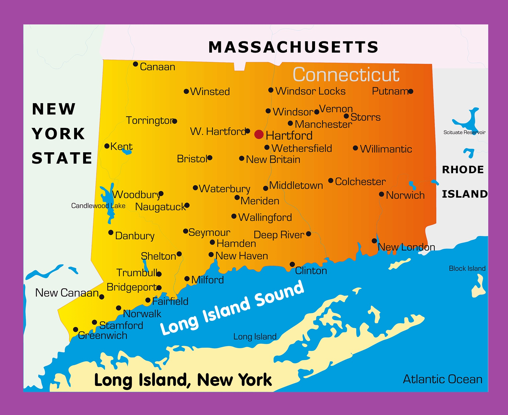 Connecticut Cities Map Cities Map Of Connecticut | WhatsAnswer