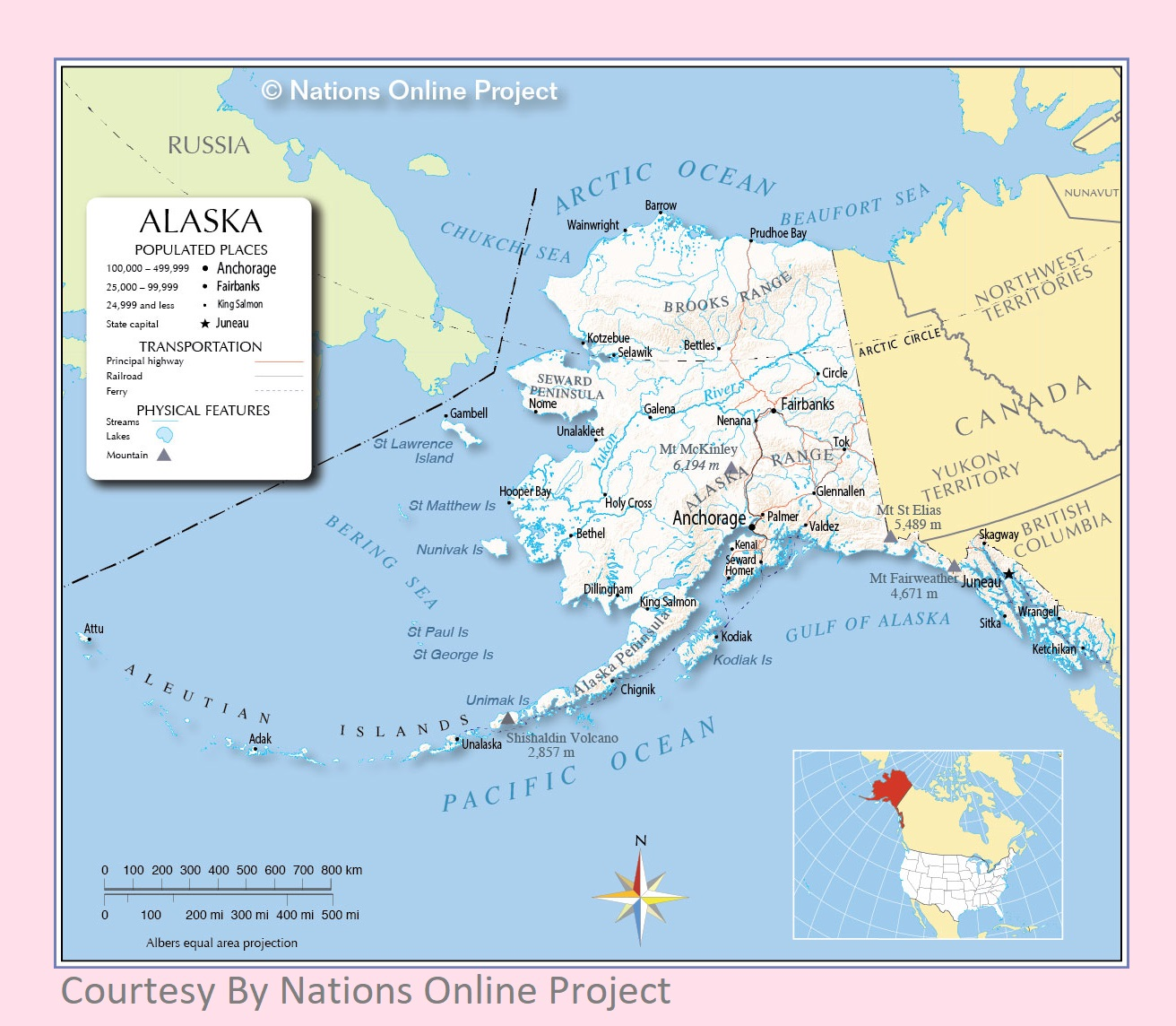 Alaska Transportation and physical map large printable ...
