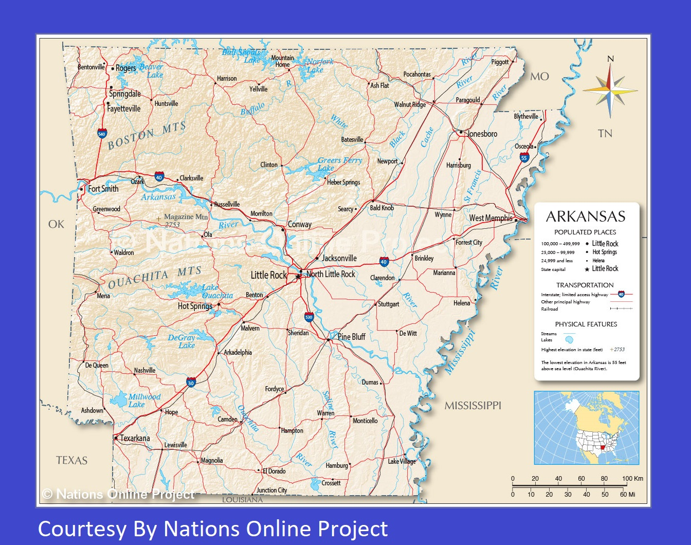 Arkansas Transportation and physical map large printable