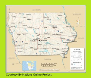 Iowa Transportation and physical map large printable