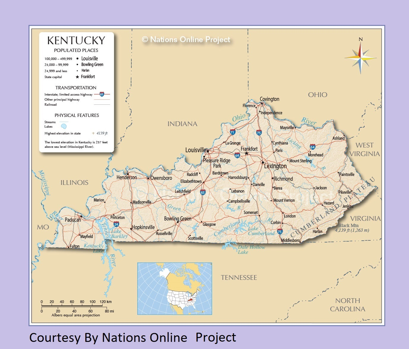 Image of: Kentucky Transportation And Physical Map Large Printable Whatsanswer