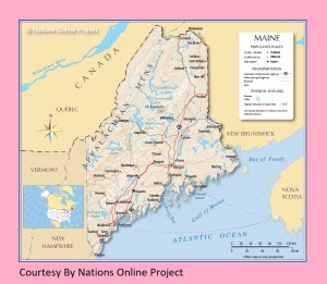 Maine Transportation and physical map large printable