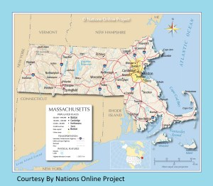 Massachusetts Transportation and physical map large printable