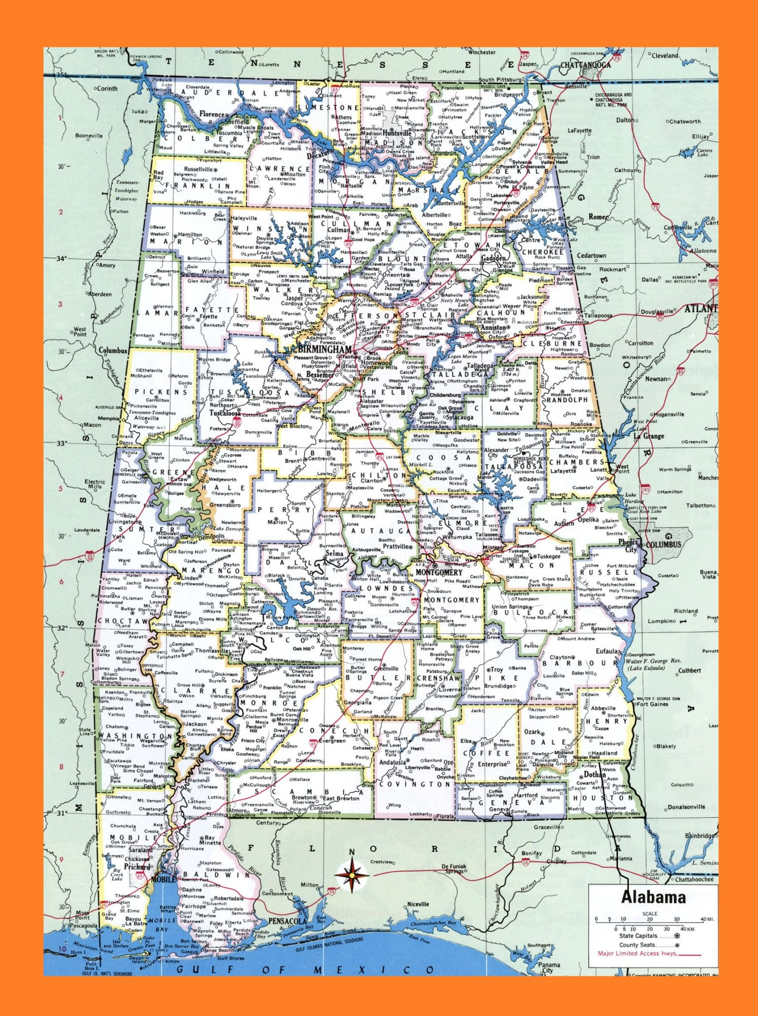 photo relating to Printable Map of Alabama named Nation Map The United Says WhatsAnswer