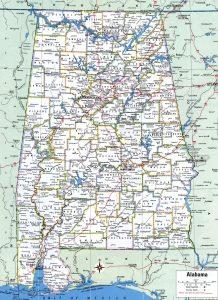Alabama Political  Map   Political  Map of Alabama With Capital , city and River lake-2 Large Printable